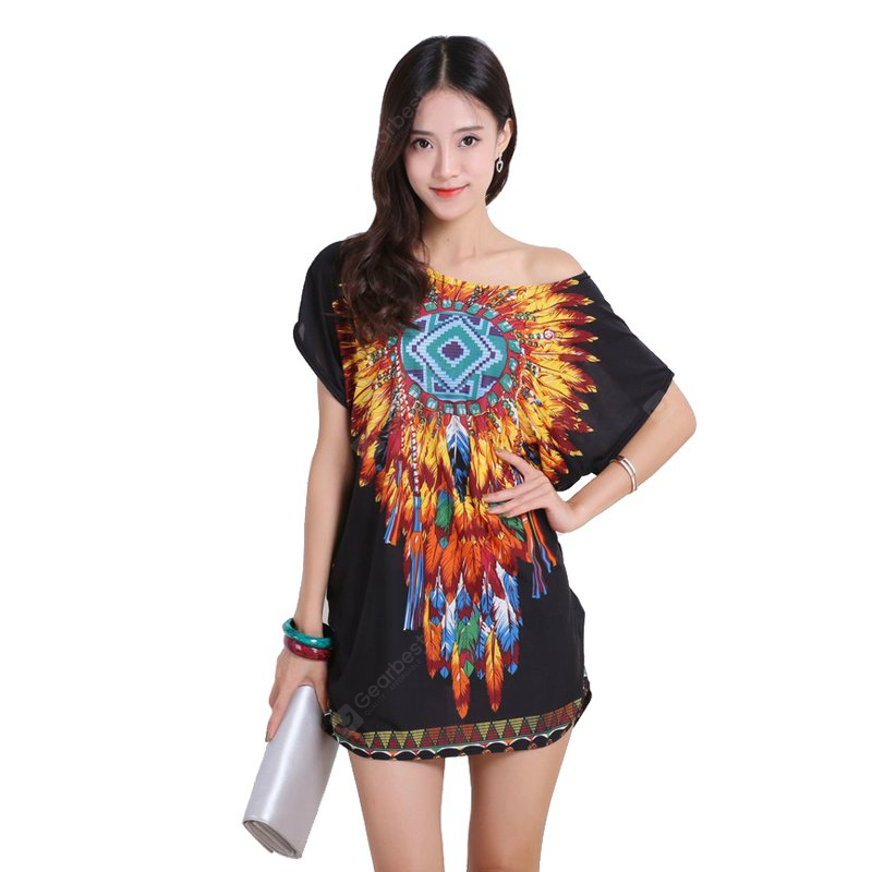 BLACK Women's Fashion Casual Large Size Silk Printing T-shirt WYD019