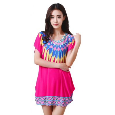 Buy ROSE RED Women's Fashion Casual Large Size Silk Printing T-shirt WYD025 for $12.74 in GearBest store