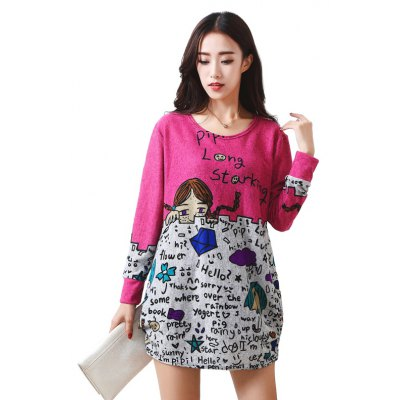 Buy ROSE RED Women's Dress Long Sleeve Floral Pattern Casual Mini Dress DWH005 for $16.35 in GearBest store
