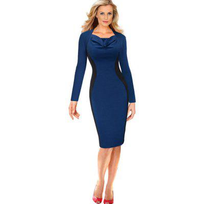Women's Dress Square Collar Patchwork Long Sleeve Midi Dress
