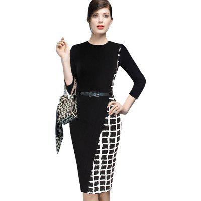 Buy BLACK L Women's Sheath Dress Plaid Color Block Pencil Dress for $24.51 in GearBest store