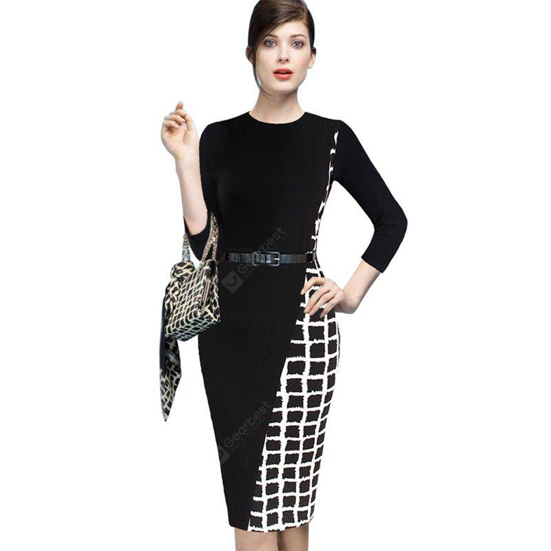 BLACK L Women's Sheath Dress Plaid Color Block Pencil Dress