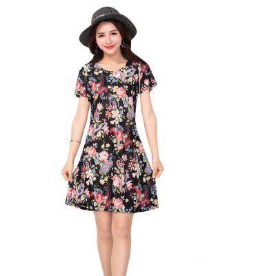 Women's Dress Ice Silk Fashion Small Floral Print Short Sleeve Slim Fashion Dress