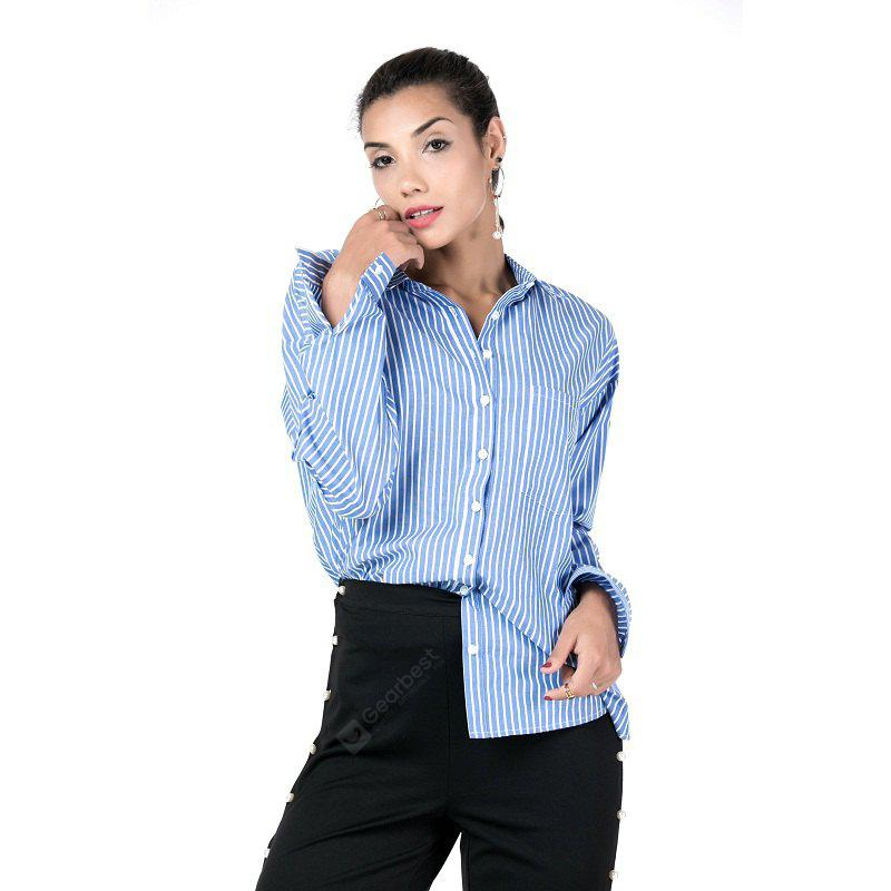 Beauty Garden Women'S Cotton Stripe Button Down Long Sleeve Casual Blouses