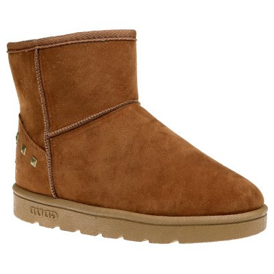 Buy BROWN 39 Snow Boots Warm Winter Boots Shoes Female Diamond Flat Nubuck Leather Boots for $48.00 in GearBest store
