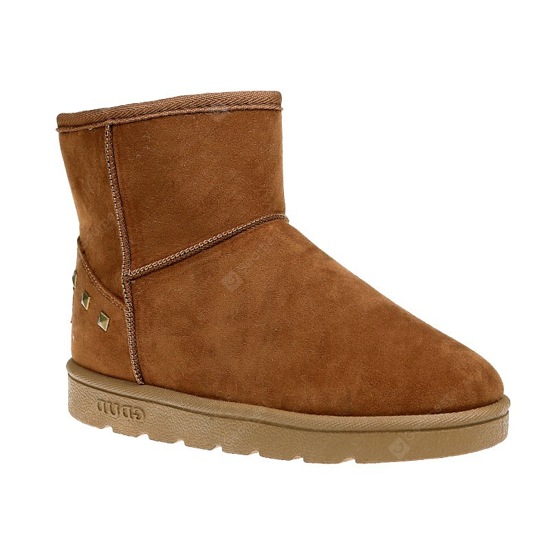 BROWN 36 Snow Boots Warm Winter Boots Shoes Female Diamond Flat Nubuck Leather Boots
