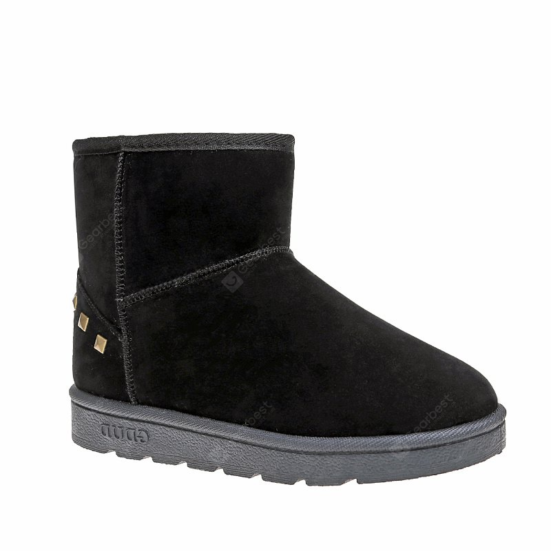 BLACK 40 Snow Boots Warm Winter Boots Shoes Female Diamond Flat Nubuck Leather Boots