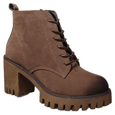 Buy KHAKI 38 New High Heels Short Boots Women's Shoes Autumn Winter British Wind Martin Boots Boots And Boots for $60.00 in GearBest store