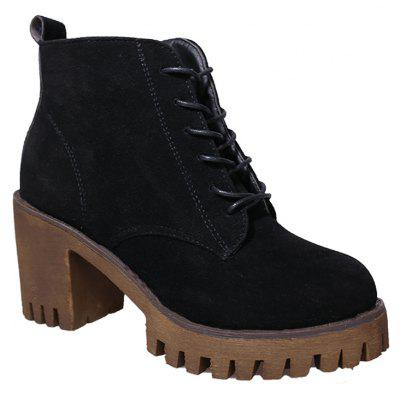 Buy BLACK 35 New High Heels Short Boots Women's Shoes Autumn Winter British Wind Martin Boots Boots And Boots for $60.00 in GearBest store