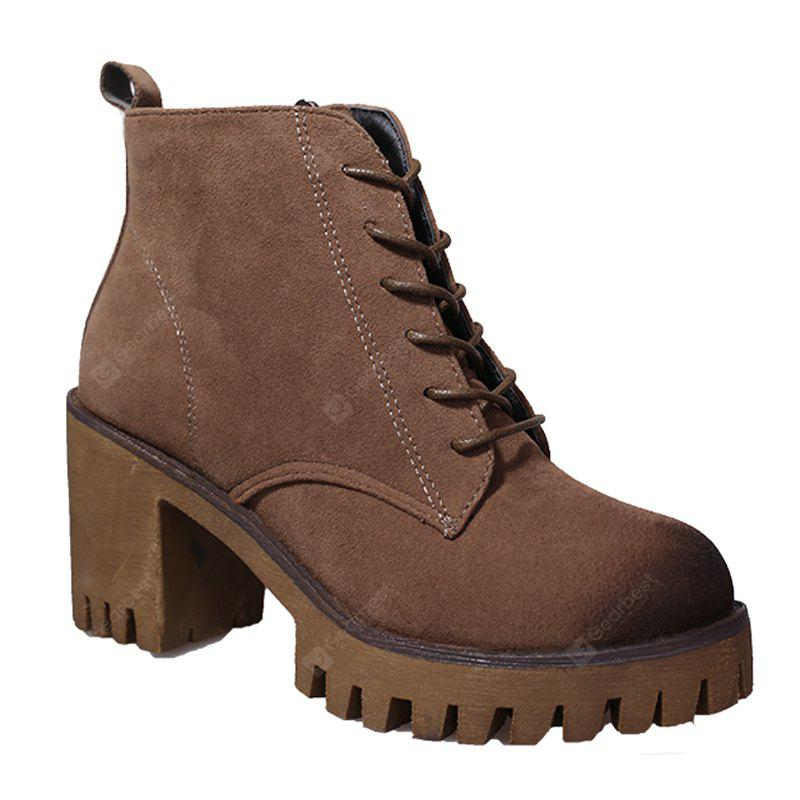 KHAKI 36 New High Heels Short Boots Women's Shoes Autumn Winter British Wind Martin Boots Boots And Boots