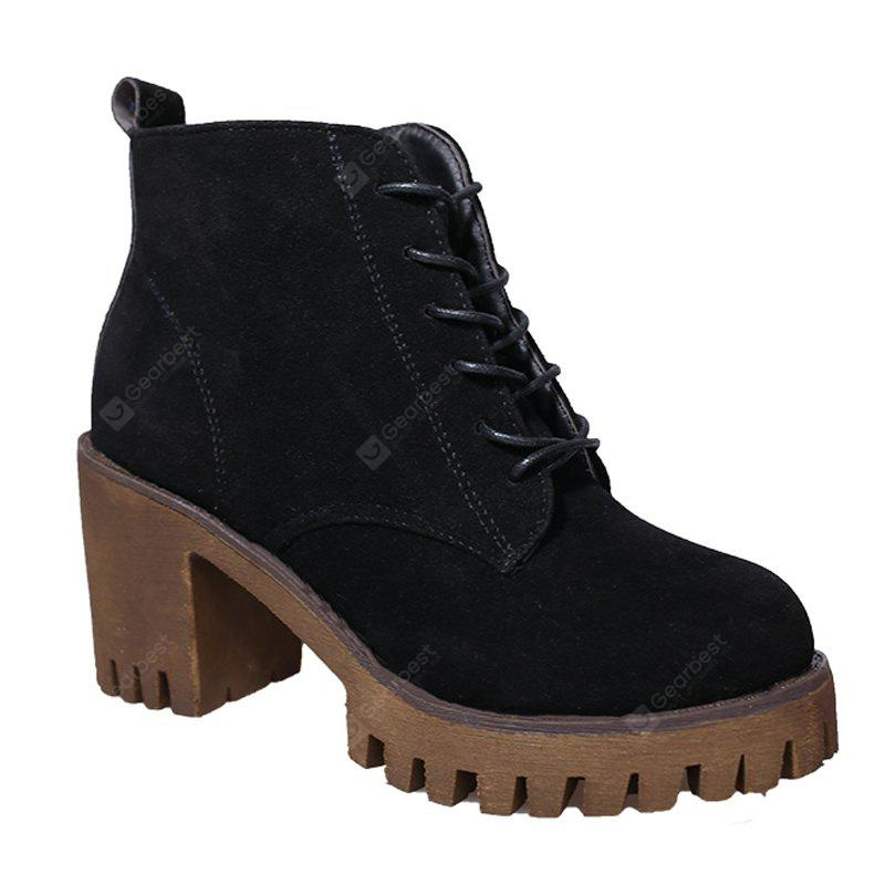 BLACK 36 New High Heels Short Boots Women's Shoes Autumn Winter British Wind Martin Boots Boots And Boots