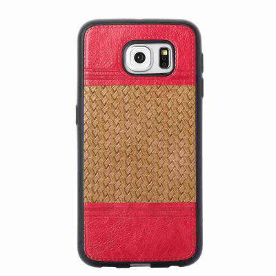 Buy LIGHT BROWN Plating Button Two-Color Woven Pattern TPU Paste Skin Phone Case for Samsung Galaxy S6 for $4.74 in GearBest store