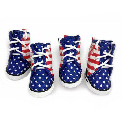 Lovoyager VSE15003 Fashion Canvas American Flag Dog Shoes Sport Casual Anti-Slip Puppy Teddy Sneaker Pet Boots