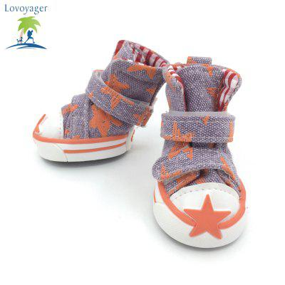 Lovoyager VSE15002 Casual Pet Shoes Star Print Anti-Slip Sneakers Breathable Boots For Puppy DogsDog Clothing &amp; Shoes<br>Lovoyager VSE15002 Casual Pet Shoes Star Print Anti-Slip Sneakers Breathable Boots For Puppy Dogs<br><br>Color: Red,Blue,Green,Orange<br>Fit: Teddy Dog,ChiHuaHua Small Cats Small Dog<br>For: Dogs<br>Functions: Others<br>item: Sports dog shoes<br>Material: Canvas<br>Package Contents: 4 x  Dog Stars Shoes<br>Package size (L x W x H): 7.00 x 6.00 x 3.00 cm / 2.76 x 2.36 x 1.18 inches<br>Package weight: 0.1100 kg<br>Season: All seasons<br>Size: S,M,L,XL,XXL<br>Type: Shoes