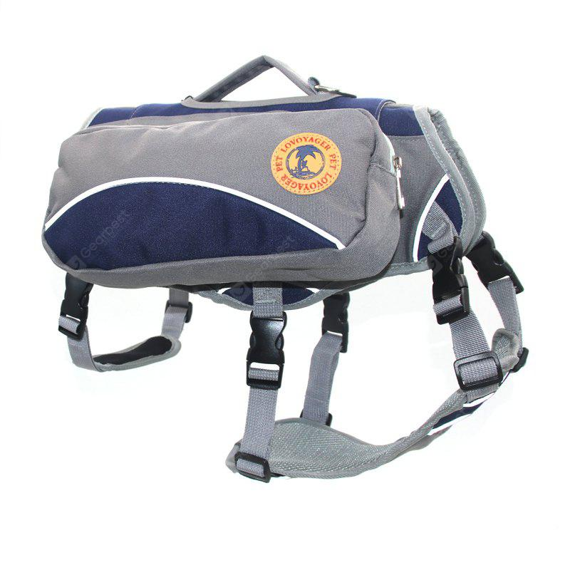 BLUE L Lovoyager VB16012 Outdoor Pet Saddle Bag Harness Multifunctional Training Hiking Pouch for Large Dog
