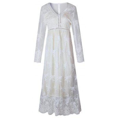2017 New White Lace Long-Sleeved Dress