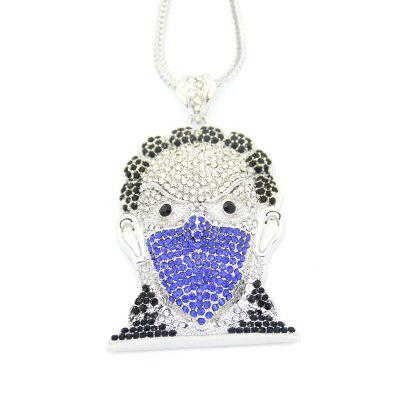 Buy SILVER AND BLUE Europe and America Hip Hop Necklace Masked Man Head Pendant Necklace for $32.70 in GearBest store