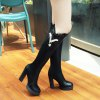 Women's Knee Length Boots Delicate Solid V Shaped Metal Decor Party Shoes - BLACK