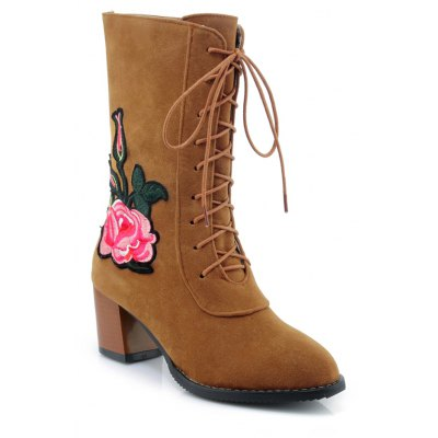 Women's Martin Boots Flowers Decorative Faddish Elegant Shoes