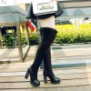 Women's Above Knee Boots Thick Heels Rubber Sole High Heels Shoes - BLACK