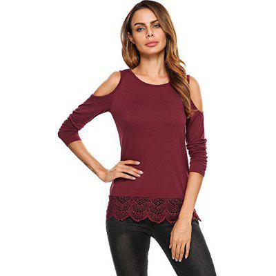 Buy WINE RED XL Europe and The United States Solid Round Neck Shaving Long-Sleeved Lace Stitch T-Shirt for $21.90 in GearBest store