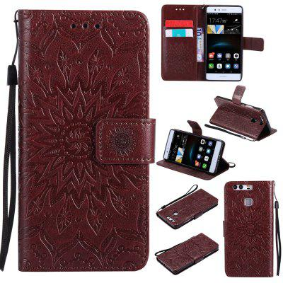 Buy BROWN Sun Flower Printing Design Pu Leather Flip Wallet Lanyard Protective Case for Huawei P9 for $7.17 in GearBest store