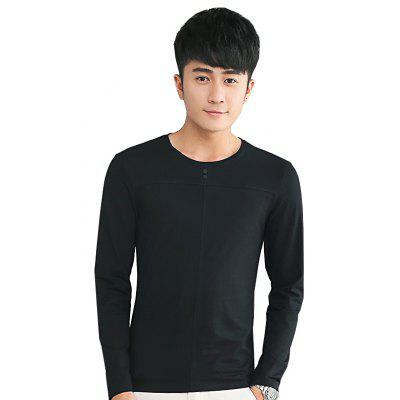 Buy BLACK 2XL Mens Solid Color Decorative Buttons Round Neck Slim long Sleeve T-Shirt for $18.41 in GearBest store