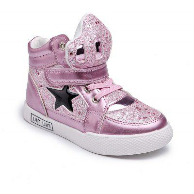 The New Girls Help Children Fashion Shoes Gold Star in Sports Shoes Girl Students