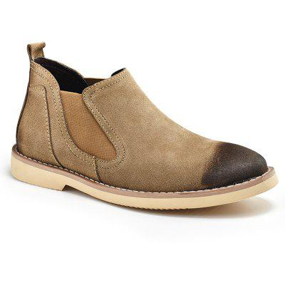 Men'S Shoes Middle Back Suede Leather Casual Shoes Leather Shoes Short Boots French Leather Shoes