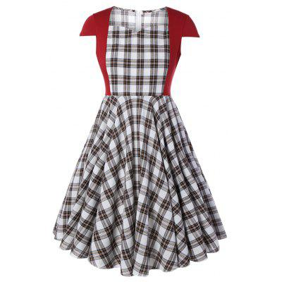 Plus Size Women's Elegant Print Plaid Patchwork Sexy Square Collar Short Sleeve A-Line Casual Dress