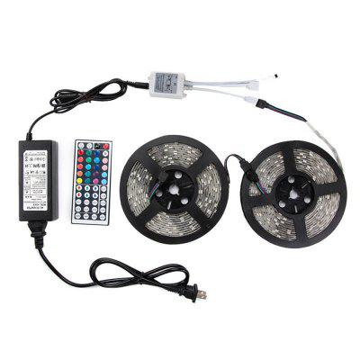 KWB 10M LED Strip Light 5050SMD RGB 300-LEDLED Strips<br>KWB 10M LED Strip Light 5050SMD RGB 300-LED<br><br>Beam Angle: 180<br>Brand: KWB<br>Bulb Included: Yes<br>Color Temperature or Wavelength: RGB<br>Features: with Remote Control, Cuttable, Color-changing<br>Initial Lumens ( lm ): RGB<br>LED Quantity: 300<br>Length ( m ): 5<br>Light color: RGB<br>Light Source: LED<br>Light Source Color: RGB<br>Package Content: 2 X 5M LED Strip Light , 1 x 44 Key Controller , 1 x 6A LED Adapter<br>Package size (L x W x H): 25.00 x 25.00 x 22.00 cm / 9.84 x 9.84 x 8.66 inches<br>Package weight: 0.9000 kg<br>Power Supply: 12V<br>Product size (L x W x H): 20.00 x 20.00 x 18.00 cm / 7.87 x 7.87 x 7.09 inches<br>Product weight: 0.8000 kg<br>Type: RGB Strip Lights<br>Voltage: DC12V<br>Waterproof Rate: IP20<br>Wattage (W): 8<br>Width( mm ): 10
