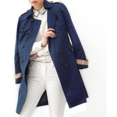 VING Trench Coats Medium Style Long Sleeve Casual Trench Outwear Lady