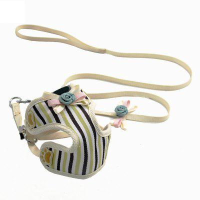 Lovoyager VB170517 Adjustable Collar Lead Pet Harness Vest and Leash Cute Flower Stripe for Small Dogs