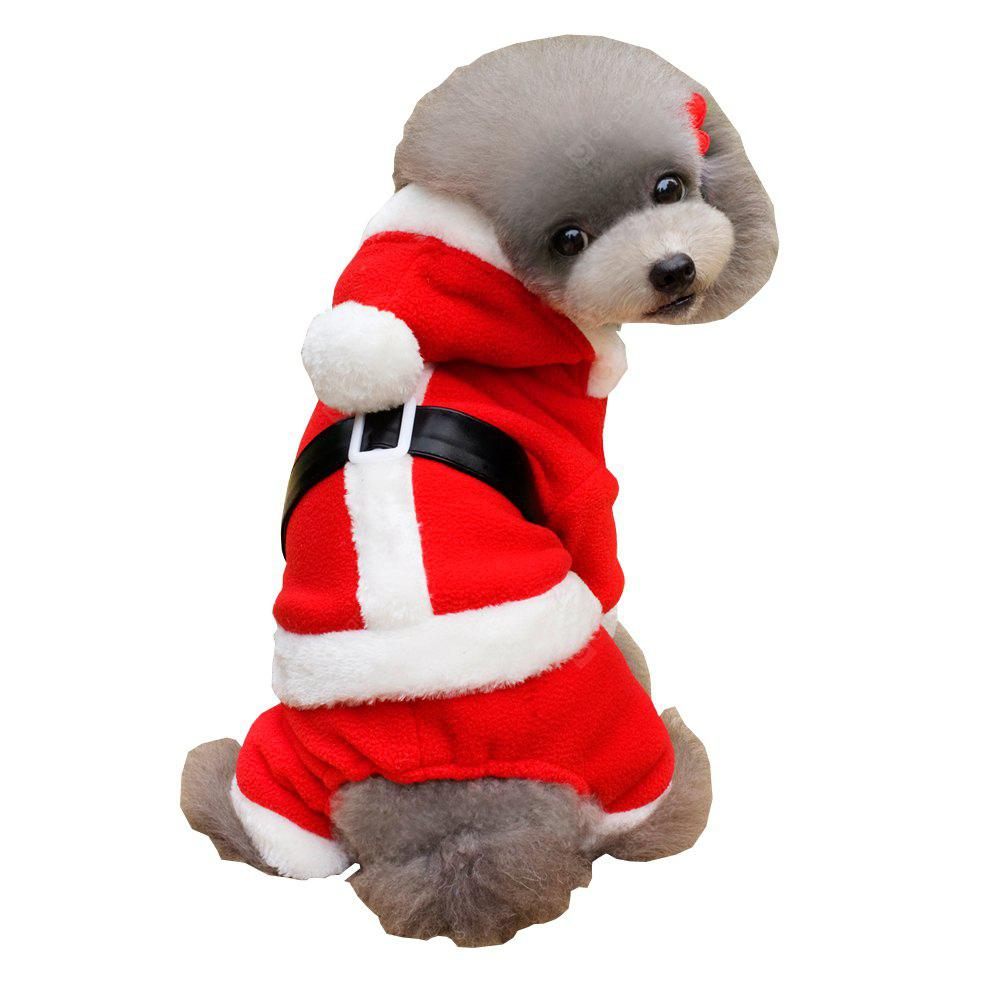 Lovoyager A1701 Winter Warm Fleece Dog Hoodies Coats Christmas Halloween Pet Costumes Dress Red Clothes