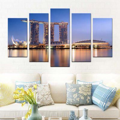Buy COLORMIX YHHP 5 Panels Night View of The City Landscape Picture Print Wall Art on Canvas Unframed for $33.53 in GearBest store