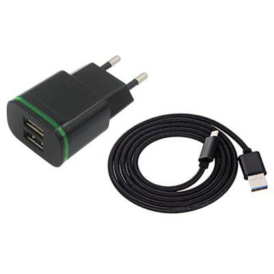2-PORT 5V Fast-Charging Eu Plug Power Charger + Usb 3.1 Type C Cable