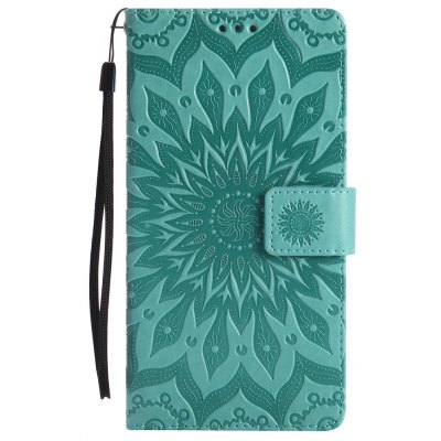 Buy GREEN Sun Flower Printing Design Pu Leather Flip Wallet Lanyard Protective Case for Huawei Mate 8 for $6.48 in GearBest store