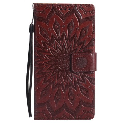 Buy BROWN Sun Flower Printing Design Pu Leather Flip Wallet Lanyard Protective Case for Huawei Mate 8 for $6.48 in GearBest store