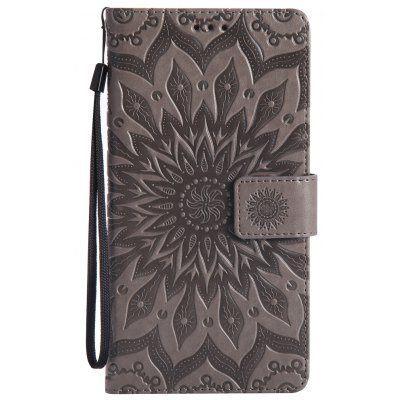 Buy GRAY Sun Flower Printing Design Pu Leather Flip Wallet Lanyard Protective Case for Huawei Mate 8 for $6.48 in GearBest store
