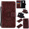 Sun Flower Printing Design Pu Leather Flip Wallet Lanyard Protective Case for Xiaomi Redmi Note 4 / 4X - BROWN