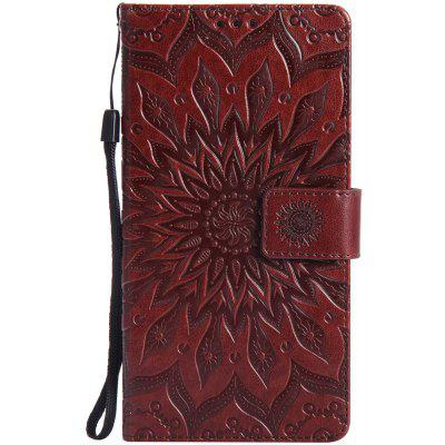 Buy BROWN Sun Flower Printing Design Pu Leather Flip Wallet Lanyard Protective Case for Huawei Mate 7 for $6.48 in GearBest store