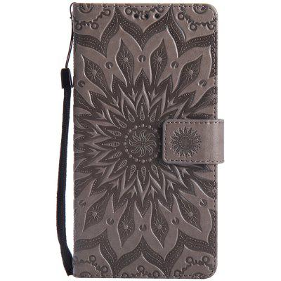 Buy GRAY Sun Flower Printing Design Pu Leather Flip Wallet Lanyard Protective Case for Huawei Mate 7 for $6.48 in GearBest store