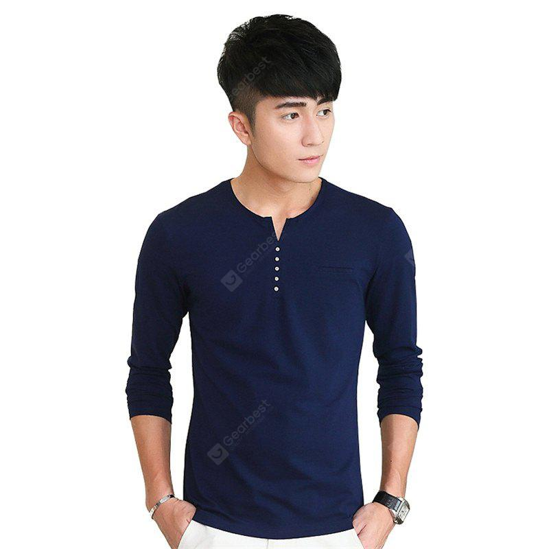 Mens Personalized Decoration Solid Color Long Sleeve Slim T-Shirt