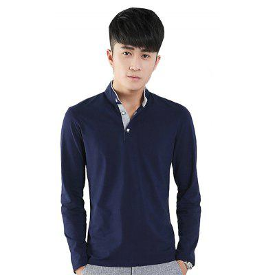 Mens Stand-Up Collar Long Sleeved T-Shirts
