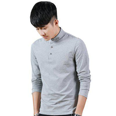 Buy GRAY XL Mens Stand-Up Collar Long Sleeved T-Shirts for $18.41 in GearBest store