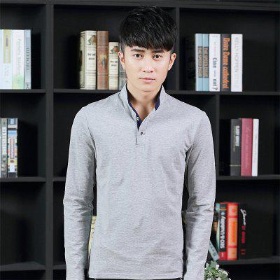 Mens Stand-Up Collar Long Sleeved T-ShirtsMens T-shirts<br>Mens Stand-Up Collar Long Sleeved T-Shirts<br><br>Collar: Stand-Up Collar<br>Material: Cotton<br>Package Contents: 1 x T-Shirt<br>Pattern Type: Solid<br>Sleeve Length: Full<br>Style: Casual<br>Weight: 0.1800kg