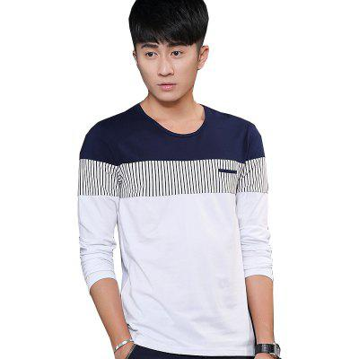 Mens Stripe Hit Color Round Neck Long Sleeve Slim T-Shirt