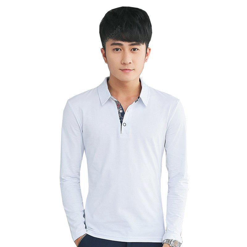 Mens Personality Printing Polo Neck Long Sleeve Slim T-Shirt