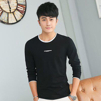 Mens Personality hit Color Round Neck Long Sleeve Slim T-Shirt pure color automatic buckle pu mens belt
