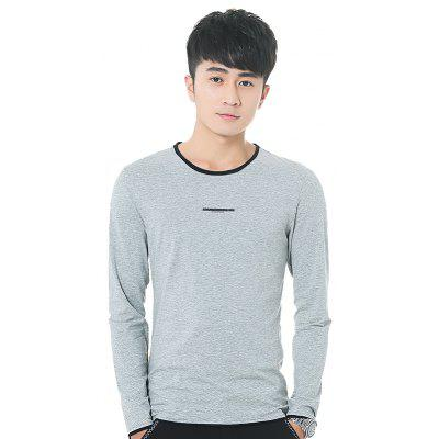 Mens Personality hit Color Round Neck Long Sleeve Slim T-Shirt